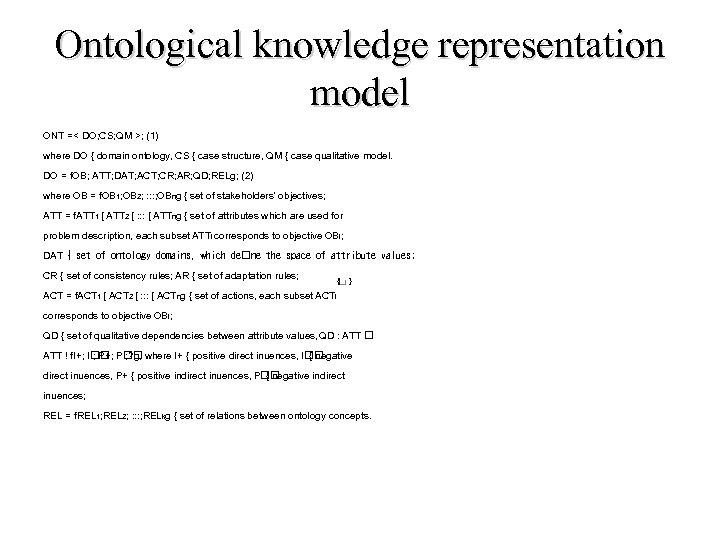 Ontological knowledge representation model ONT =< DO; CS; QM >; (1) where DO {