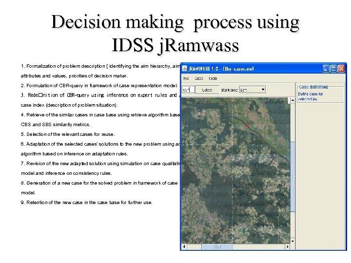 Decision making process using IDSS j. Ramwass 1. Formalization of problem description { identifying