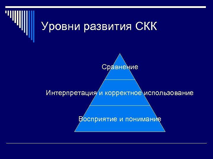 Уровни развития СКК Сравнение Интерпретация и корректное использование Восприятие и понимание