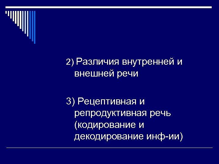 2) Различия внутренней и внешней речи 3) Рецептивная и репродуктивная речь (кодирование и декодирование