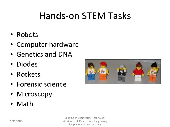 Hands-on STEM Tasks • • Robots Computer hardware Genetics and DNA Diodes Rockets Forensic