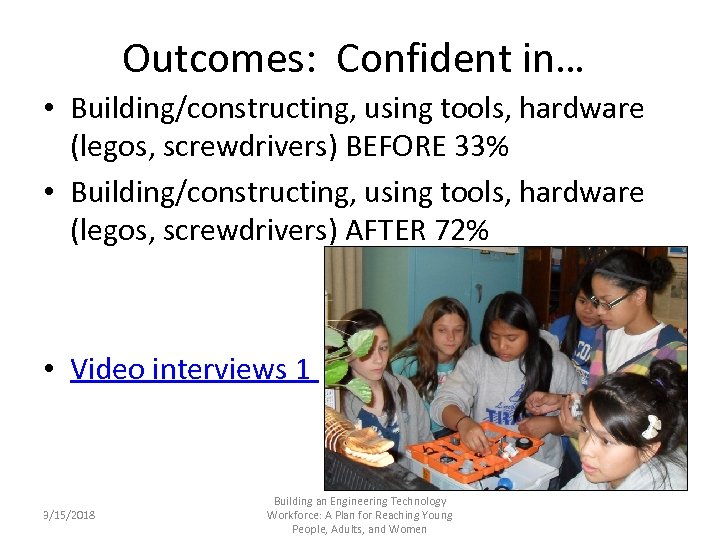 Outcomes: Confident in… • Building/constructing, using tools, hardware (legos, screwdrivers) BEFORE 33% • Building/constructing,