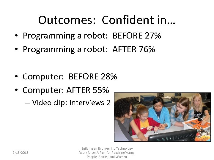 Outcomes: Confident in… • Programming a robot: BEFORE 27% • Programming a robot: AFTER