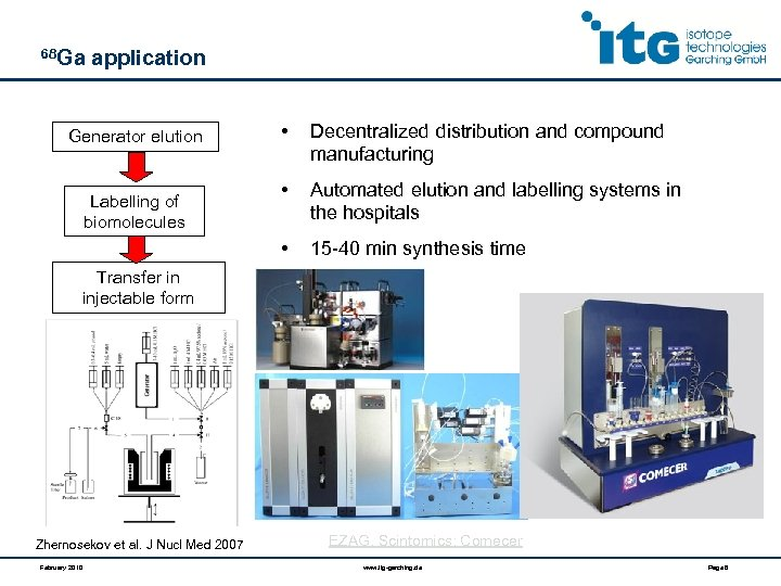 68 Ga application Labelling of biomolecules • Decentralized distribution and compound manufacturing • Automated