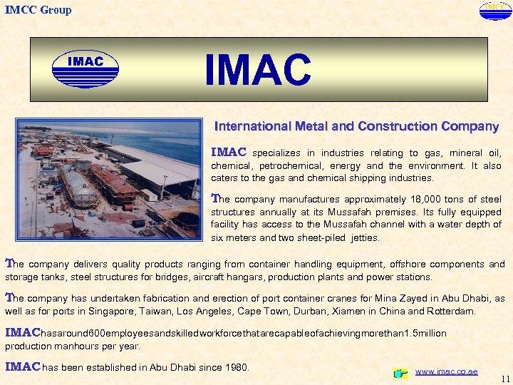 IMCC Group IMCC Abu Dhabi Group Welcomes You