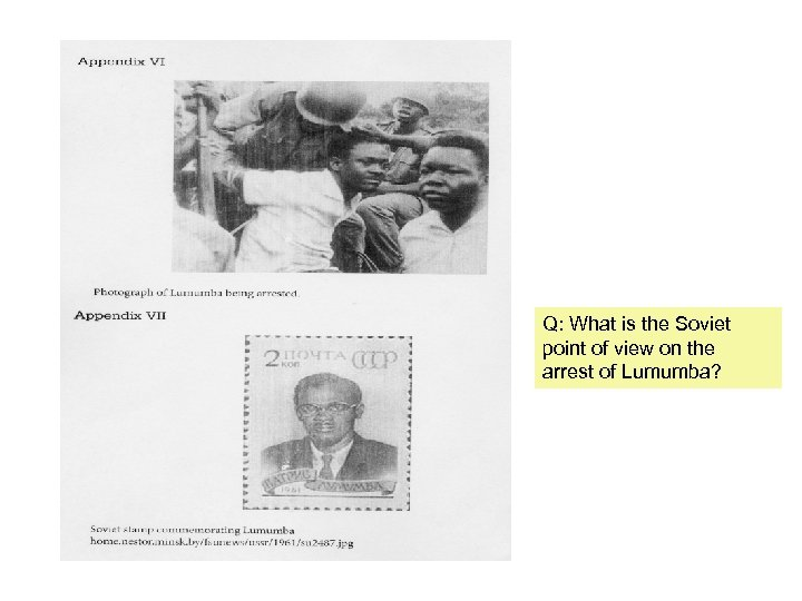 Q: What is the Soviet point of view on the arrest of Lumumba?