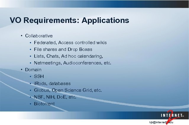 VO Requirements: Applications • Collaborative • Federated, Access controlled wikis • File shares and