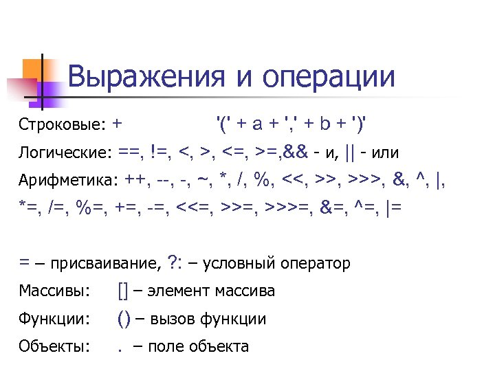 Выражения и операции Строковые: + '(' + a + ', ' + b +