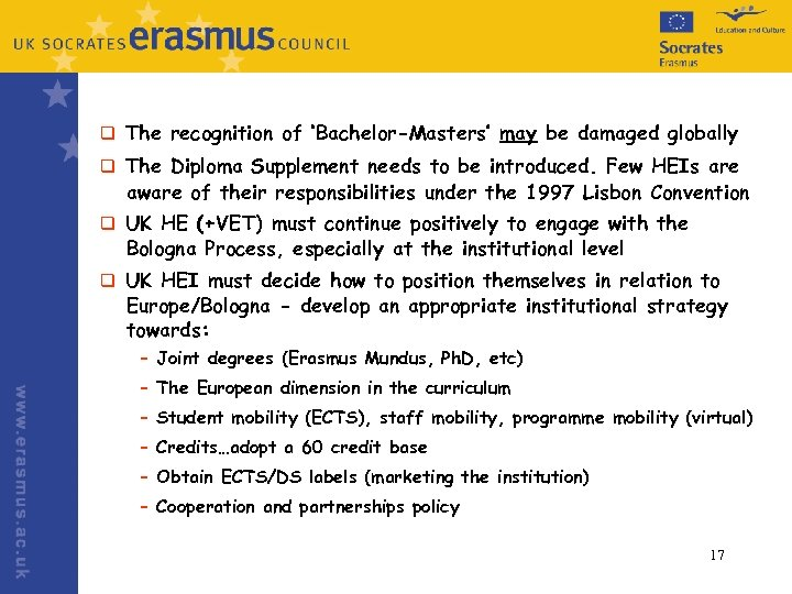 q The recognition of 'Bachelor-Masters' may be damaged globally q The Diploma Supplement needs