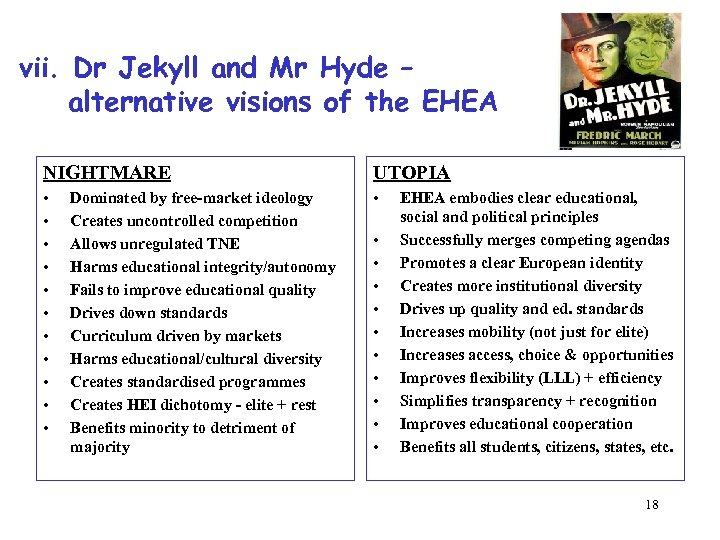 vii. Dr Jekyll and Mr Hyde – alternative visions of the EHEA NIGHTMARE UTOPIA