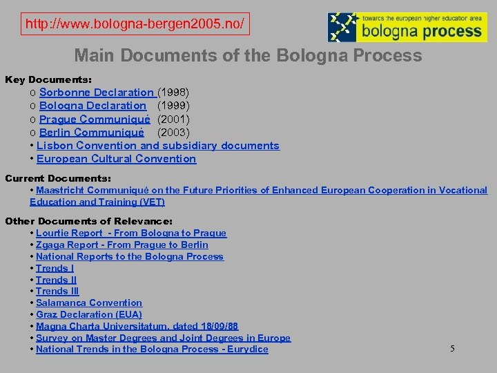 http: //www. bologna-bergen 2005. no/ Main Documents of the Bologna Process Key Documents: o
