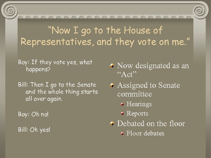 """Now I go to the House of Representatives, and they vote on me. """