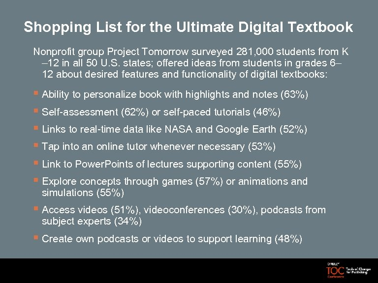 Shopping List for the Ultimate Digital Textbook Nonprofit group Project Tomorrow surveyed 281, 000