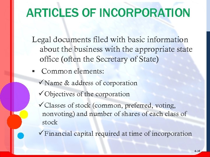 ARTICLES OF INCORPORATION Legal documents filed with basic information about the business with the