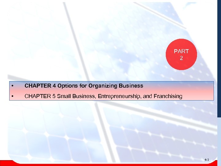 PART 2 • CHAPTER 4 Options for Organizing Business • CHAPTER 5 Small Business,