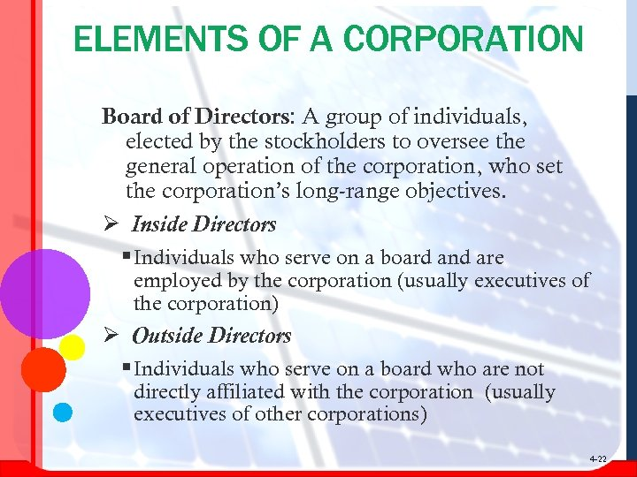 ELEMENTS OF A CORPORATION Board of Directors: A group of individuals, elected by the