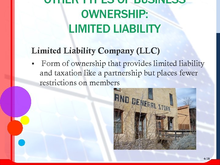 OTHER TYPES OF BUSINESS OWNERSHIP: LIMITED LIABILITY Limited Liability Company (LLC) § Form of