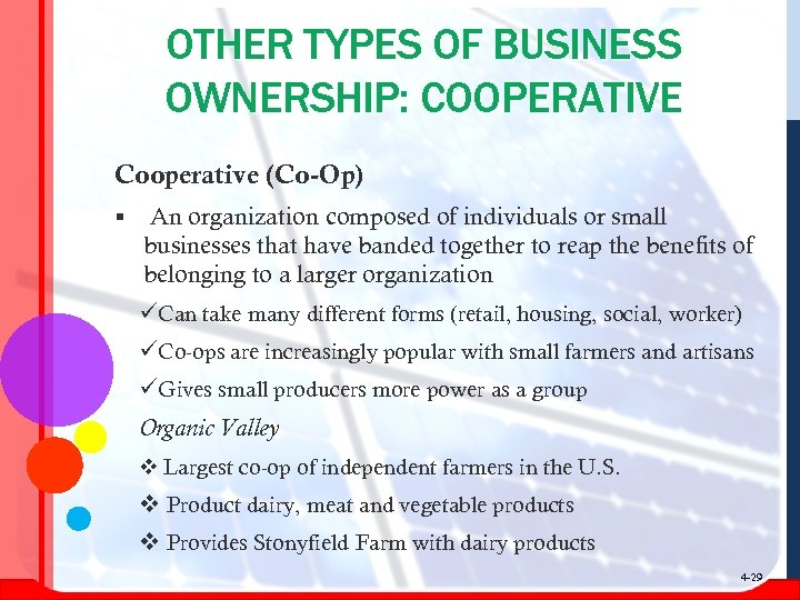 OTHER TYPES OF BUSINESS OWNERSHIP: COOPERATIVE Cooperative (Co-Op) § An organization composed of individuals