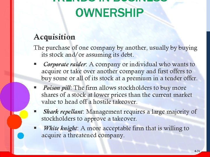 TRENDS IN BUSINESS OWNERSHIP Acquisition The purchase of one company by another, usually by