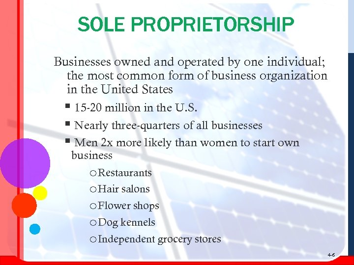 SOLE PROPRIETORSHIP Businesses owned and operated by one individual; the most common form of