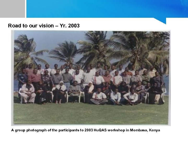 Road to our vision – Yr. 2003 A group photograph of the participants to