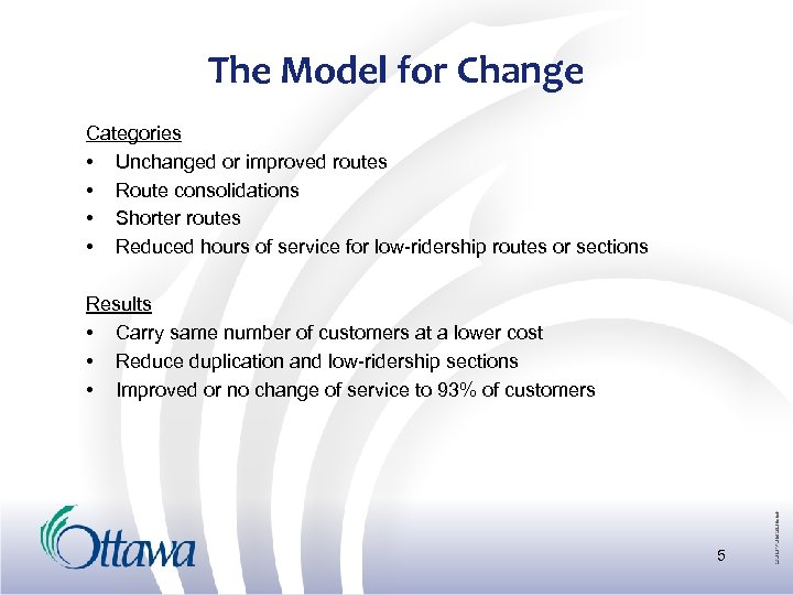 The Model for Change Categories • Unchanged or improved routes • Route consolidations •
