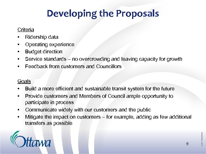 Developing the Proposals Criteria • Ridership data • Operating experience • Budget direction •