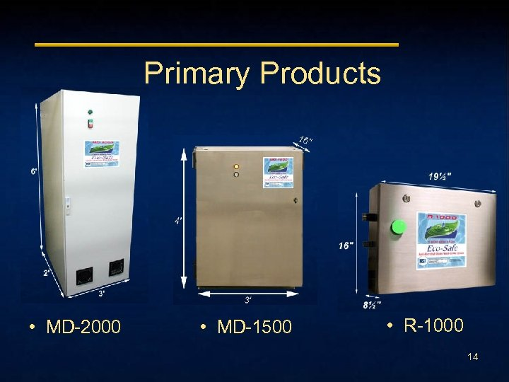 Primary Products • MD-2000 • MD-1500 • R-1000 14