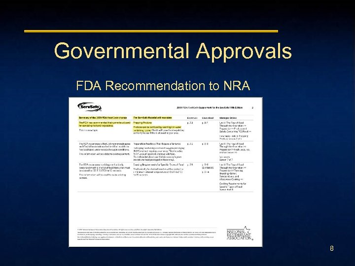 Governmental Approvals FDA Recommendation to NRA 8