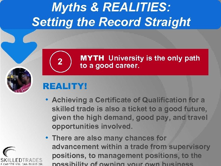 Myths & REALITIES: Setting the Record Straight 2 MYTH University is the only path