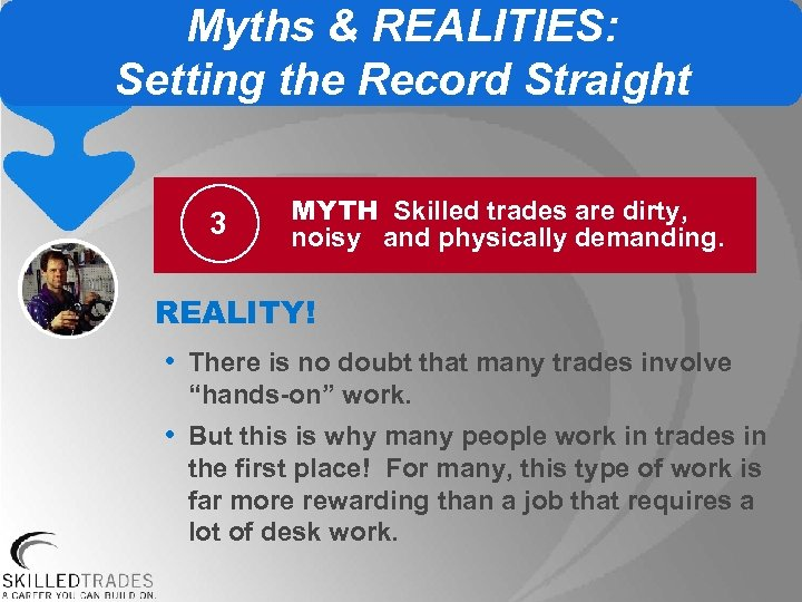 Myths & REALITIES: Setting the Record Straight 3 MYTH Skilled trades are dirty, noisy