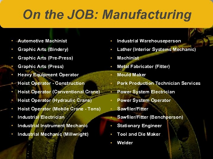 On the JOB: Manufacturing • Automotive Machinist • Industrial Warehouseperson • Graphic Arts (Bindery)