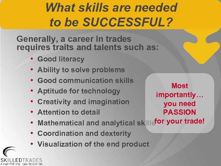 What skills are needed to be SUCCESSFUL? Generally, a career in trades requires traits