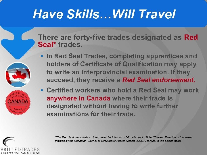 Have Skills…Will Travel There are forty-five trades designated as Red Seal* trades. • In