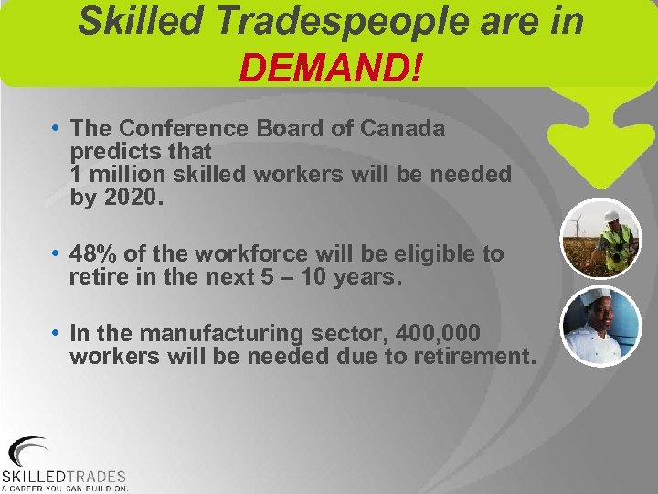 Skilled Tradespeople are in DEMAND! • The Conference Board of Canada predicts that 1