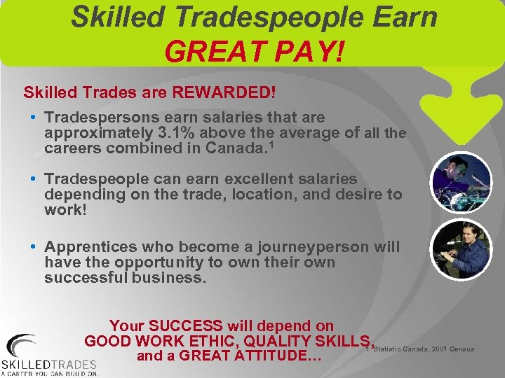 Skilled Tradespeople Earn GREAT PAY! Skilled Trades are REWARDED! • Tradespersons earn salaries that