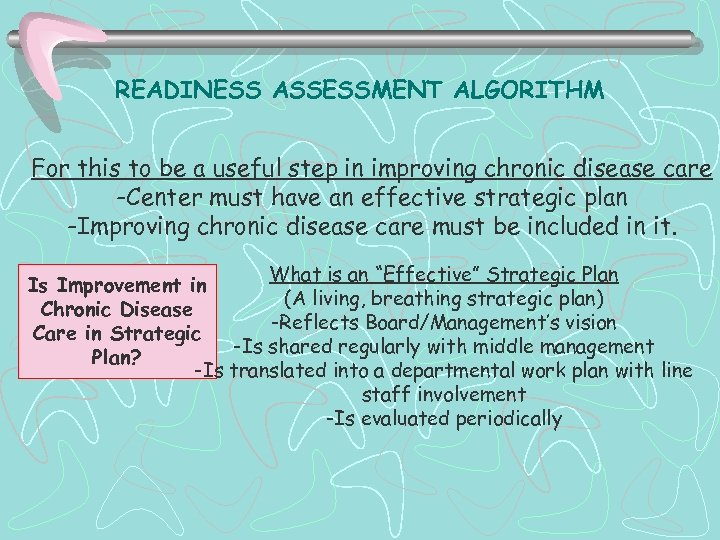 READINESS ASSESSMENT ALGORITHM For this to be a useful step in improving chronic disease