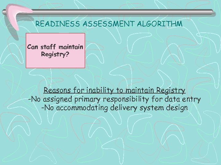 READINESS ASSESSMENT ALGORITHM Can staff maintain Registry? Reasons for inability to maintain Registry -No