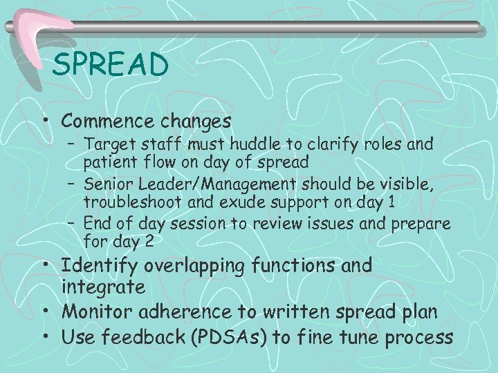 SPREAD • Commence changes – Target staff must huddle to clarify roles and patient