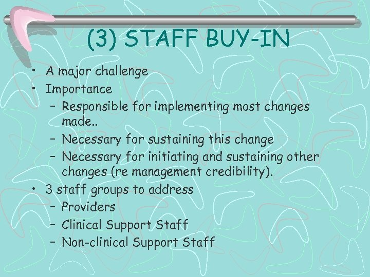 (3) STAFF BUY-IN • A major challenge • Importance – Responsible for implementing most