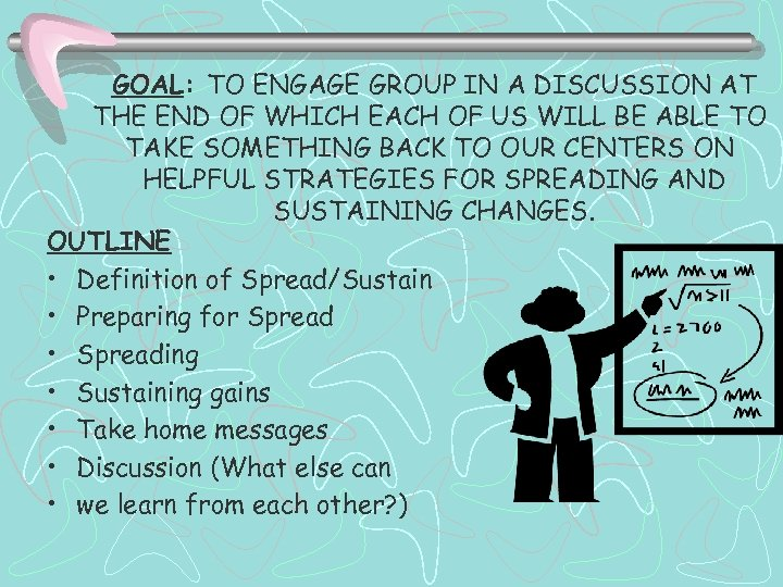GOAL: TO ENGAGE GROUP IN A DISCUSSION AT THE END OF WHICH EACH OF