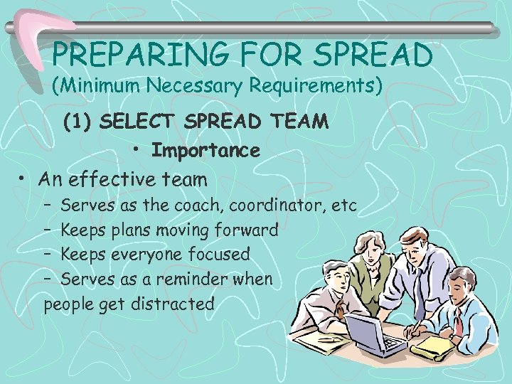 PREPARING FOR SPREAD (Minimum Necessary Requirements) (1) SELECT SPREAD TEAM • Importance • An