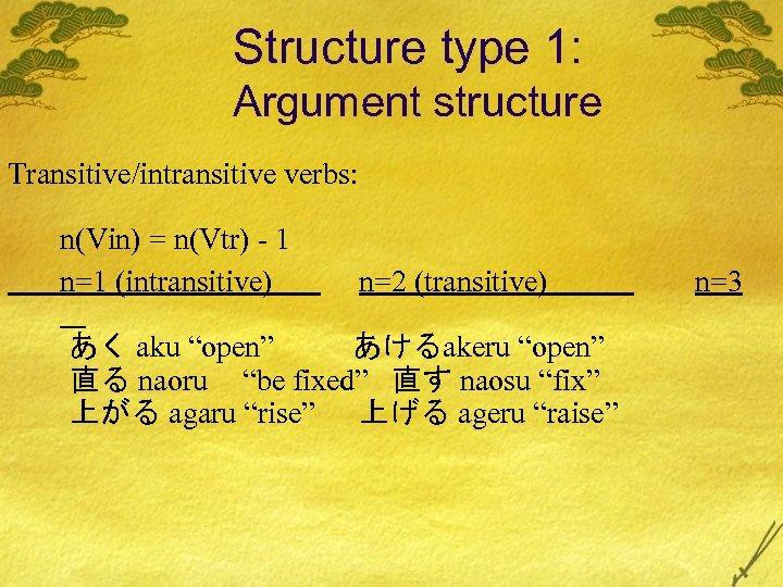 Structure type 1: Argument structure Transitive/intransitive verbs: n(Vin) = n(Vtr) - 1 n=1 (intransitive)