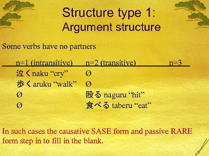 """Structure type 1: Argument structure Some verbs have no partners n=1 (intransitive) 泣くnaku """"cry"""""""