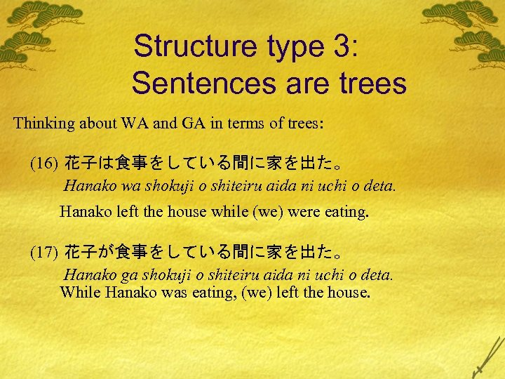 Structure type 3: Sentences are trees Thinking about WA and GA in terms of