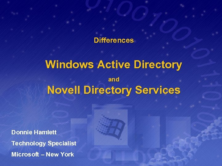 Differences Windows Active Directory and Novell Directory Services Donnie Hamlett Technology Specialist Microsoft –
