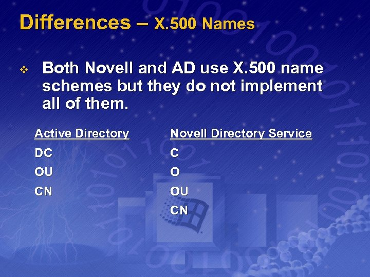 Differences – X. 500 Names v Both Novell and AD use X. 500 name