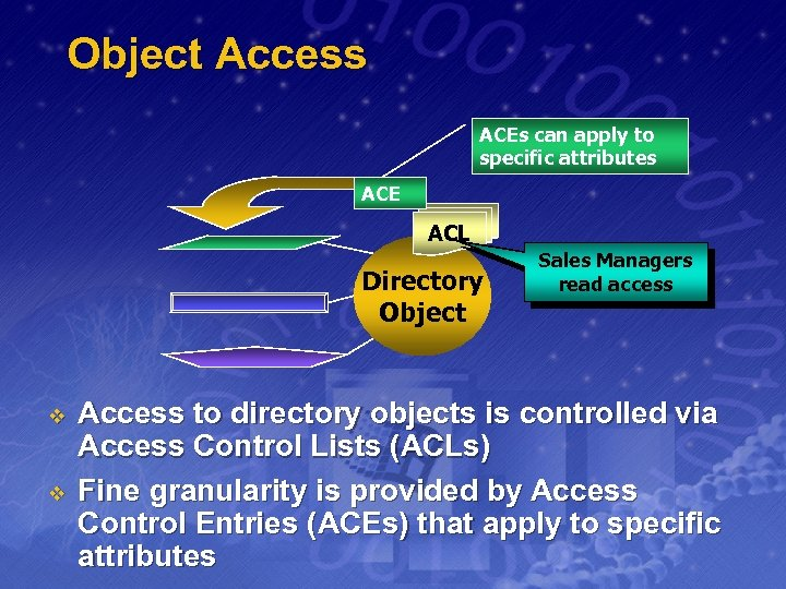 Object Access ACEs can apply to specific attributes ACE ACL Directory Object v v