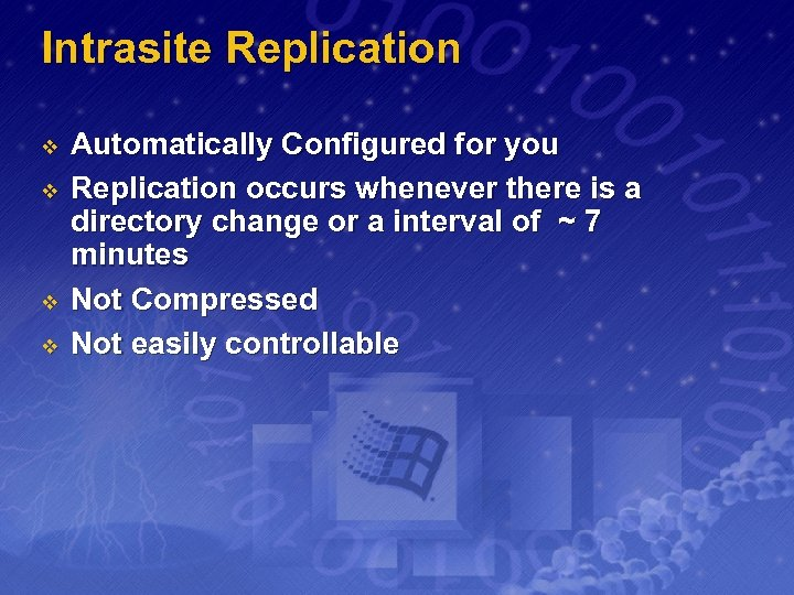 Intrasite Replication v v Automatically Configured for you Replication occurs whenever there is a