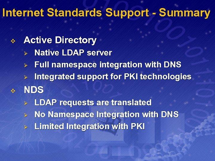 Internet Standards Support - Summary v Active Directory Ø Ø Ø v Native LDAP